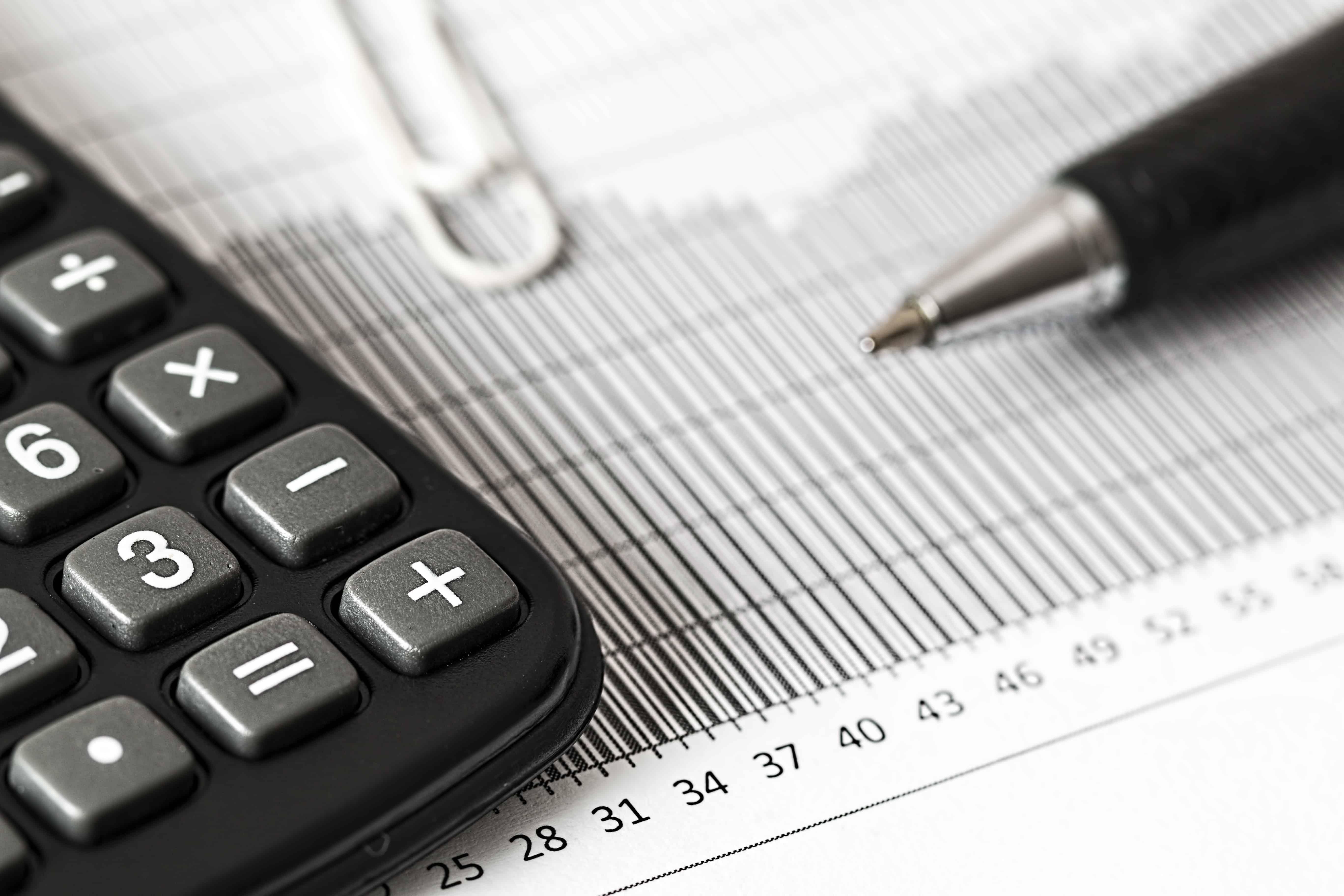 Calculator and Pen balance sheet