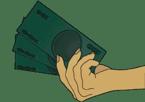 Hand Holding Money Yellow Hand and Green Bills