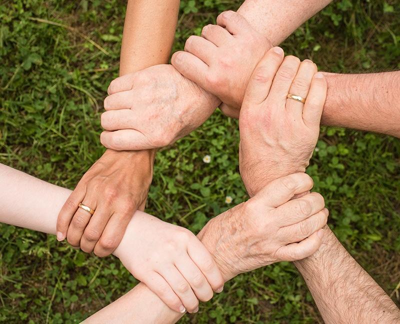 group holding hands green grass