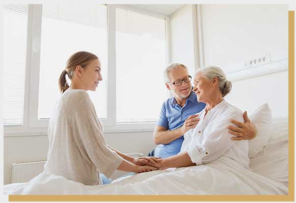 senior couple on hospital - life settlements bed with woman life settlements settlement viatical